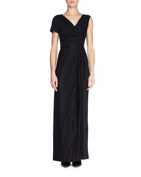 THE ROW Allure One-Sleeve Pleated Long A-Line Dress