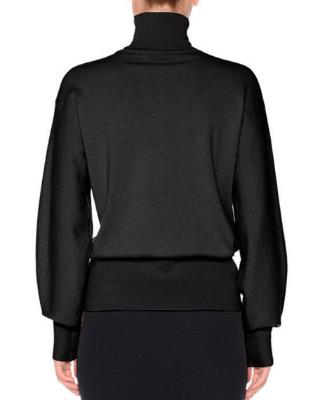 Bishop-Sleeve Wool Turtleneck Sweater
