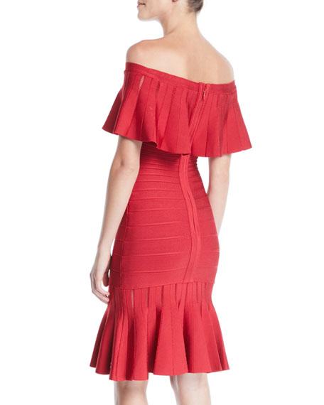 Off-the-Shoulder Bandage Flutter-Hem Cocktail Dress