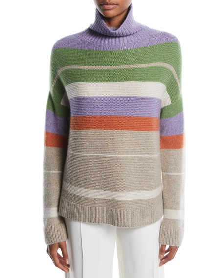 Loro Piana Darlington Turtleneck Striped Cashmere Knit Sweater