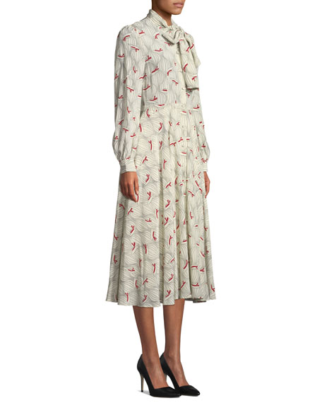 Co Bow-Neck Hat Print Silk Midi Dress