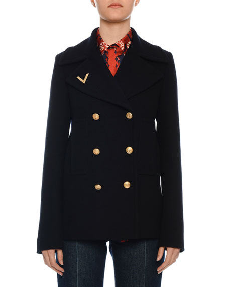 Valentino Double-Breasted Wool Pea Coat