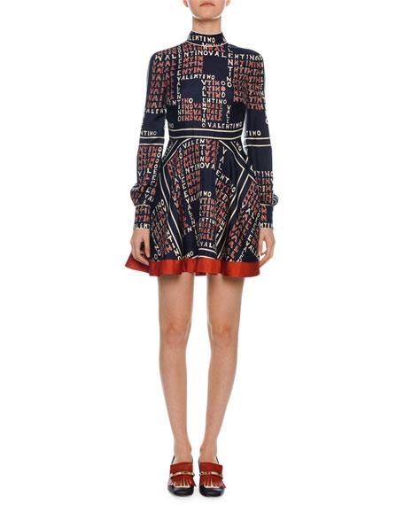 Valentino Mock-Neck Long-Sleeve Puzzle-Print Mini Dress