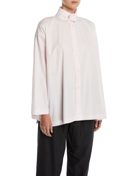 Eskandar Slim A-Line Two-Collar Button-Front Shirt w/ Step-Hem