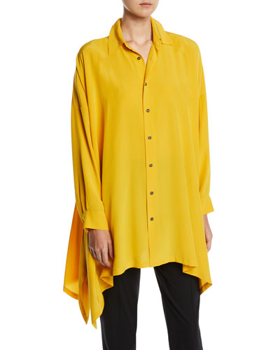 Long-Sleeve Silk Button-Front Handkerchief Blouse