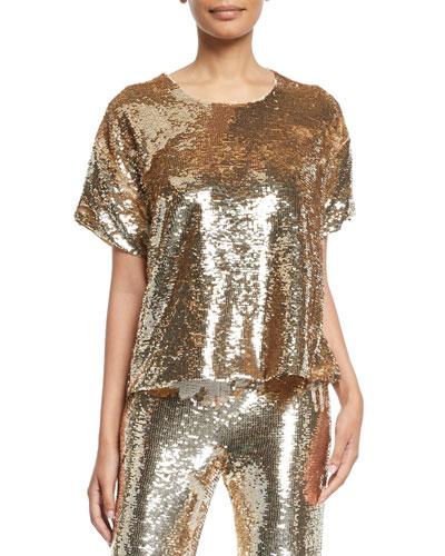 Layla Short-Sleeve Sequin Blouse
