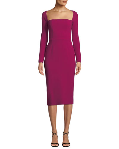 Open-Neck Long-Sleeve Fitted Midi Sheath Cocktail Dress