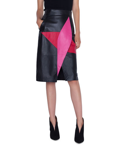 4e2022821 Leather Wrap-Effect Patchwork Pencil Skirt