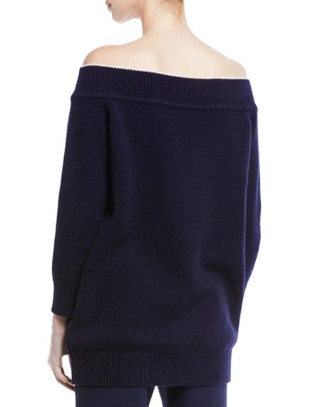 Lela Rose Off-the-Shoulder Wool-Cashmere Sweater