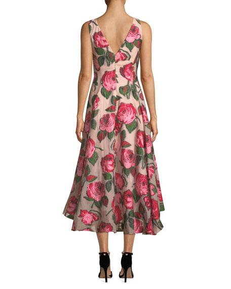 Lela Rose V-Neck Sleeveless Rose Fil Coupe Dress