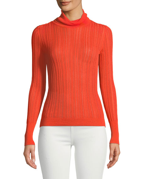 Image 1 of 3: CUSHNIE Turtleneck Viscose-Blend Knit Top