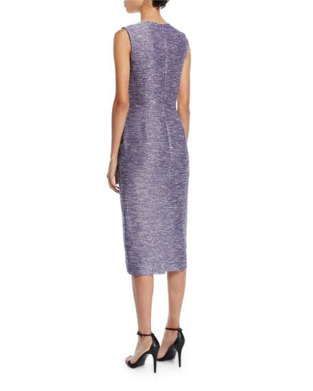 Lela Rose V-Neck Sleeveless Sequin-Embroidered Tweed Sheath Cocktail Dress