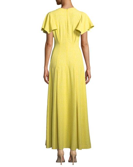 Lela Rose V-Neck Flounce-Sleeve Button-Front Maxi Dress