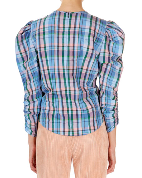 Isabel Marant Esemee Twisted Plaid Puff-Shoulder Blouse