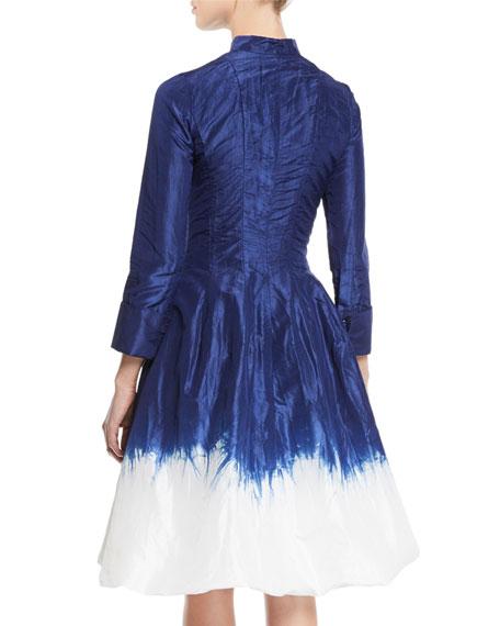Oscar de la Renta Long-Sleeve Dip-Dye Bubble-Hem Fit-and-Flare Dress