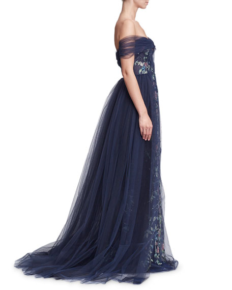 Marchesa Off-the-Shoulder Floral Tulle Evening Gown