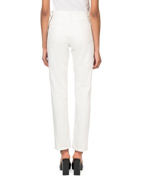 Balenciaga High-Rise Button-Front Stone-Wash Tube Jeans