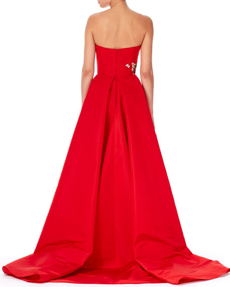 Strapless Threadwork-Embroidered Gown, Red