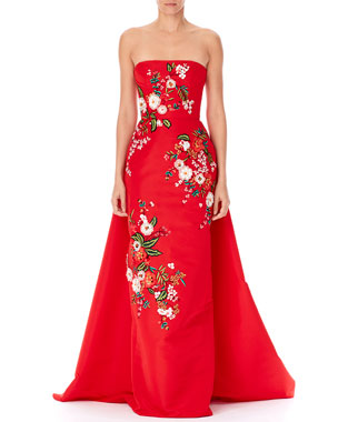 81d619151a Carolina Herrera Strapless Threadwork-Embroidered Gown