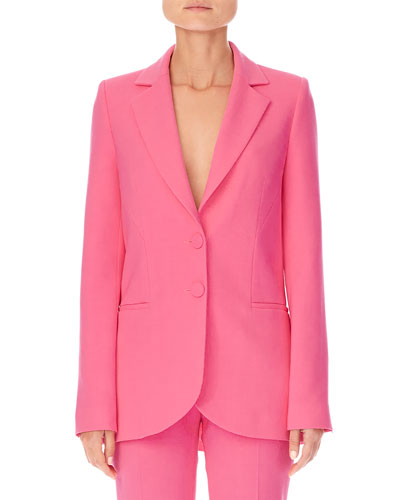 Notched-Lapels Two-Button Stretch-Wool Jacket