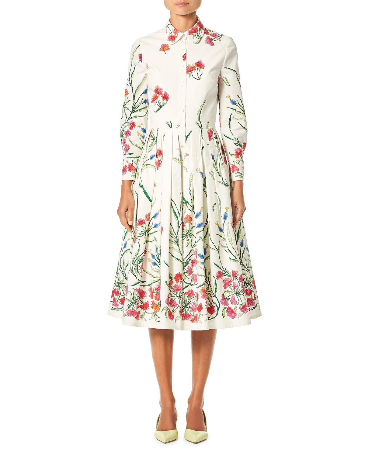 8dd677d9a4 Carolina HerreraButton-Front Long-Sleeve Floral-Print A-Line Shirtdress