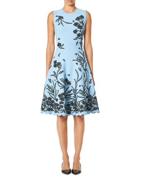 Carolina Herrera Sleeveless A-Line Floral-Jacquard Knee-Length Dress