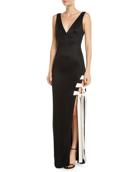 Galvan Sleeveless Lace-Up High-Slit Jersey Gown