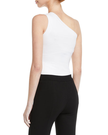 Image 2 of 2: Rosetta Getty One-Shoulder Fitted Interlock Jersey Tank