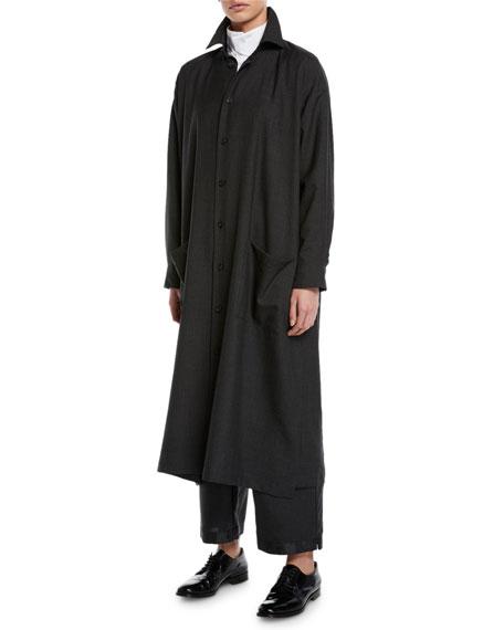 Eskandar Long-Sleeve Slim A-Line Shirtdress
