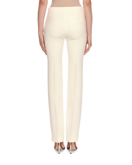 Image 2 of 2: Alexander McQueen Mid-Rise Classic Straight-Leg Wool-Silk Trousers