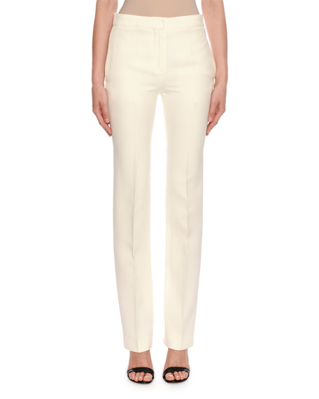 Image 1 of 2: Alexander McQueen Mid-Rise Classic Straight-Leg Wool-Silk Trousers