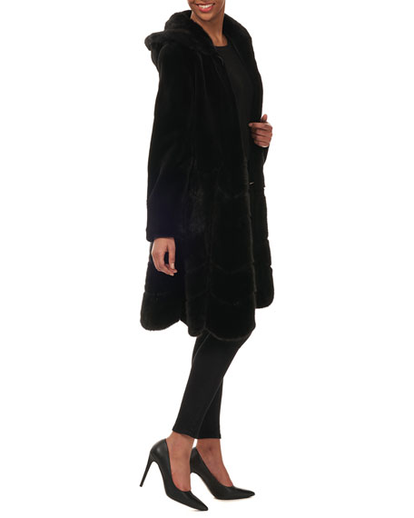 Gorski Hooded Reversible Sheared-Mink Taffeta Mid-Length Coat