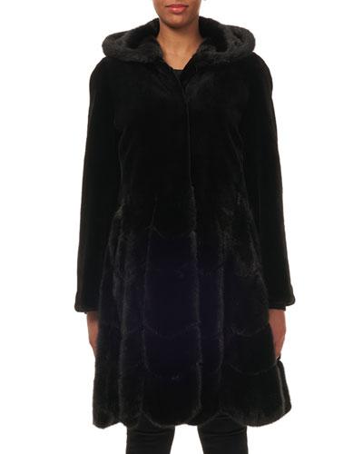 Hooded Reversible Sheared-Mink Taffeta Mid-Length Coat