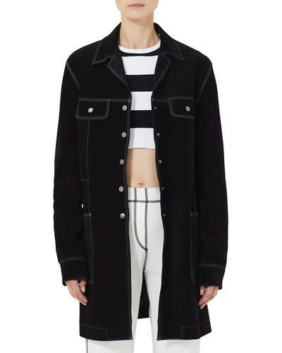 Long Topstitched Suede Coat