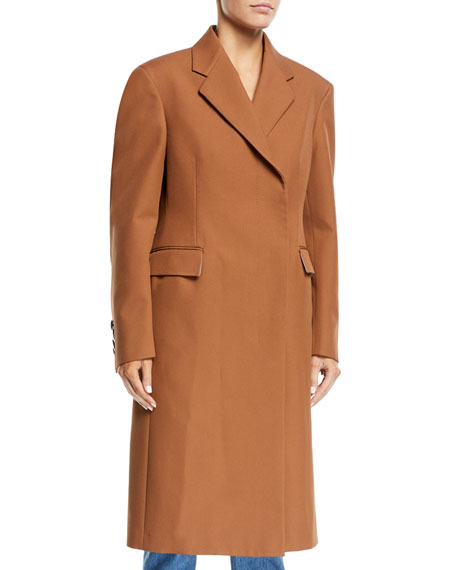 CALVIN KLEIN 205W39NYC Notched-Collar Rounded-Sleeve Hidden-Placket Coat