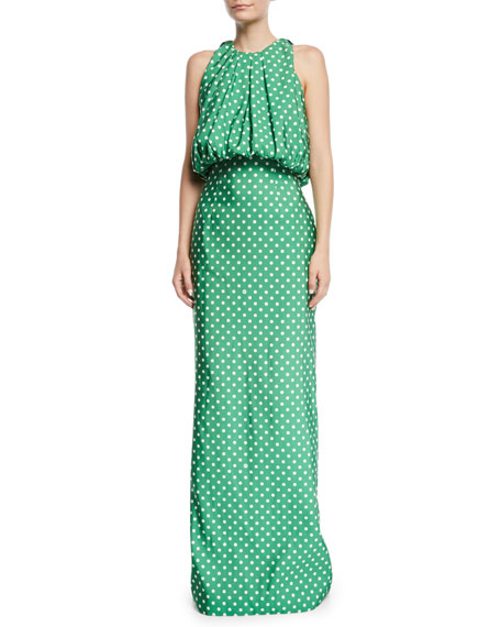 CALVIN KLEIN 205W39NYC Sleeveless Bubble-Top A-Line Polka-Dot Evening Gown