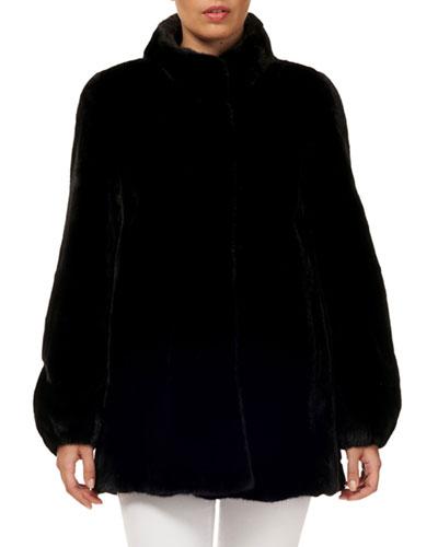 Stand-Collar Press-Button Mink-Fur Jacket