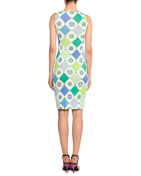 Image 2 of 2: Emilio Pucci Twist-Front Sleeveless 1960's Wallpaper-Print Sheath Dress