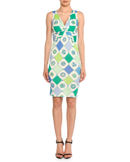 Image 1 of 2: Emilio Pucci Twist-Front Sleeveless 1960's Wallpaper-Print Sheath Dress
