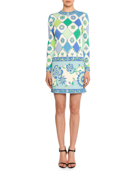 Emilio Pucci Long-Sleeve Round-Neck Wallpaper-Print Sheath Dress
