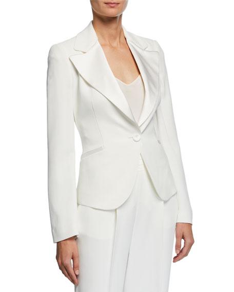 Emporio Armani Exaggerated Satin Lapel One-Button Cady Jacket