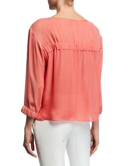 Emporio Armani 3/4-Sleeve Silk Chiffon Blouse with Elastic Detail