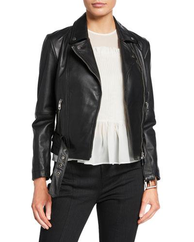 Leather Zip-Front Biker Jacket