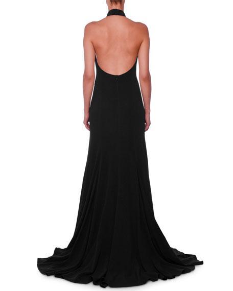 Stella McCartney Halter Open-Back A-Line Stretch-Cady Evening Gown