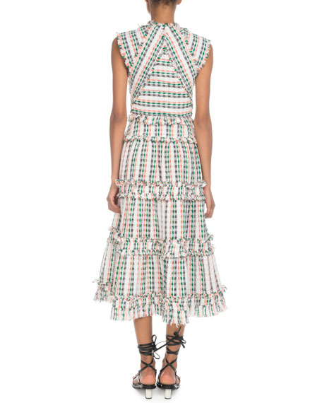 Proenza Schouler Keyhole-Front Sleeveless Boucle Open-Weave Long Tiered Dress