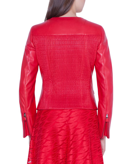 Akris Vesa Smocked-Back Leather Moto Jacket