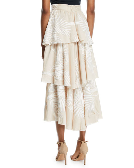 Johanna Ortiz Tremendously Wild Tiered Palm-Print Voile Skirt