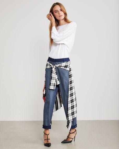 Hellessy Sentry Boyfriend Jeans w/ Plaid Silk-Satin Wrap