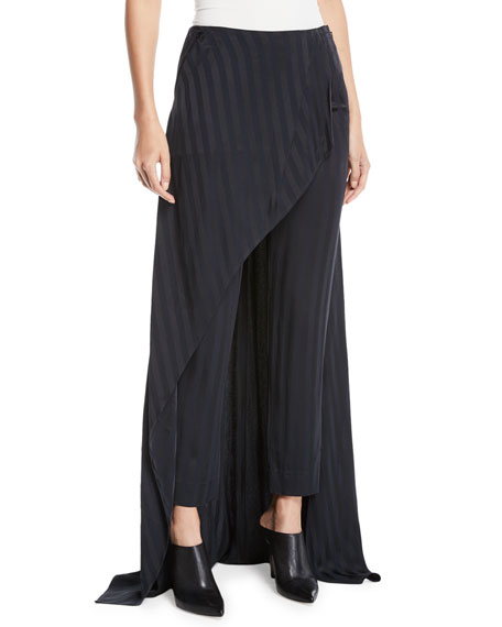 Hellessy Slim-Leg Striped Slim-Leg Pants with Skirt Overlay