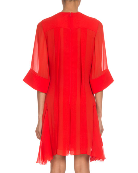 Chloe Crewneck 3/4-Sleeve Lace-Inset Shift Dress
